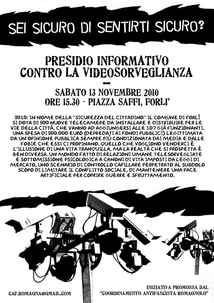 presidio contro la videosorveglianza forlì